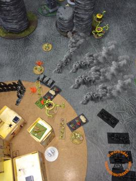 Speed Freaks Activation (retain): As expected, the Outriders then retain and Engage the Retinue but it goes horribly wrong for the Orks! Between six attacks from the two Chaos Spawn that got in range and a lot of saves by the Retinue, the combat ends with the Orks losing and three remaining Outriders (of ten) running.