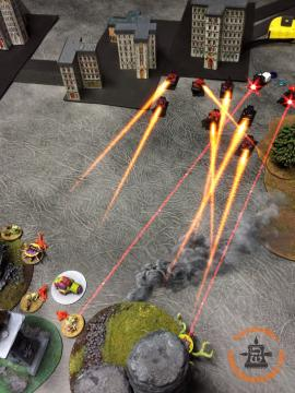 Speed Freaks Activation: A formation of Gunwagons Doubles up round the back of the Zombies and shoot the Walkers, killing a Desecrator and the Plague Hulk. This means that all my AA is either suppressed, or in the broken BTS.