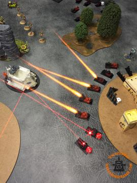 TURN TWO Speed Freaks Activation: The Gunwagons in front of the right Plague Tower successfully Sustain, pouring fire into it. Unfortunately for them, the one shot that gets through the armour is stopped by the Invulnerable Save. The Plague Tower goes back onto 1BM.