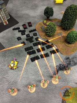 The loadsawarbikes formation that failed to activate in turn one Doubles and fires into the Blight Drones.