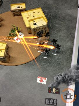 Both Forces Activations: I lost track for a few activations, but the net effect was that the remnants of my BTS tried to wipe out the last three broken Outriders but got no kills, so there was a single casualty for one BM - a single failed save would have killed the lot! Two flights of Bommas then broke the BTS again.