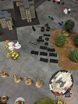 Death Guard Activation: Finally, the Plague Tower gets distracted from the triangle of objectives ahead of it and goes for the kill, Engaging the Warbike formation.