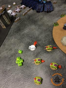 White Scars: Terminators retain and Sustain into the Vindicators, one failed save and and failed INV save breaks them.