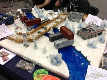 SMG Infinity table with Warmill terrain, iceworld edition.